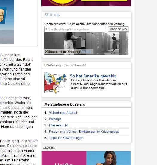 Was für eine Wahl: Screenshot der SZ-Onlineausgabe vom 30.3.09