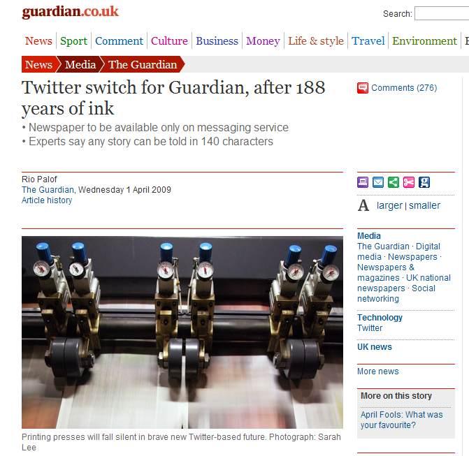 """Aus für die Printauasgabe: Der """"Guardian"""" erscheint nur noch auf Twitter"""