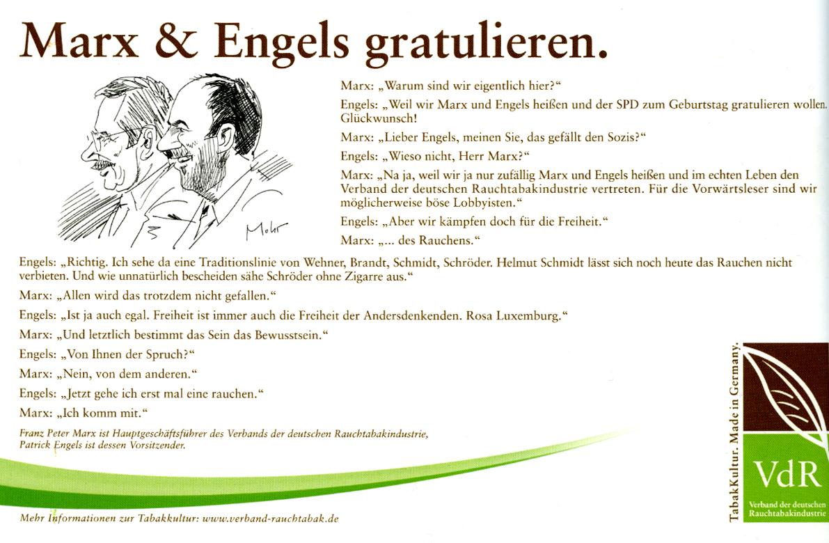Marx und Engels in der Anzeige
