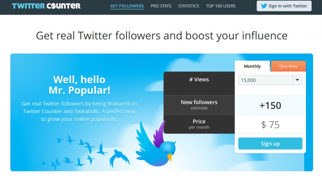 TwitterCounter offer