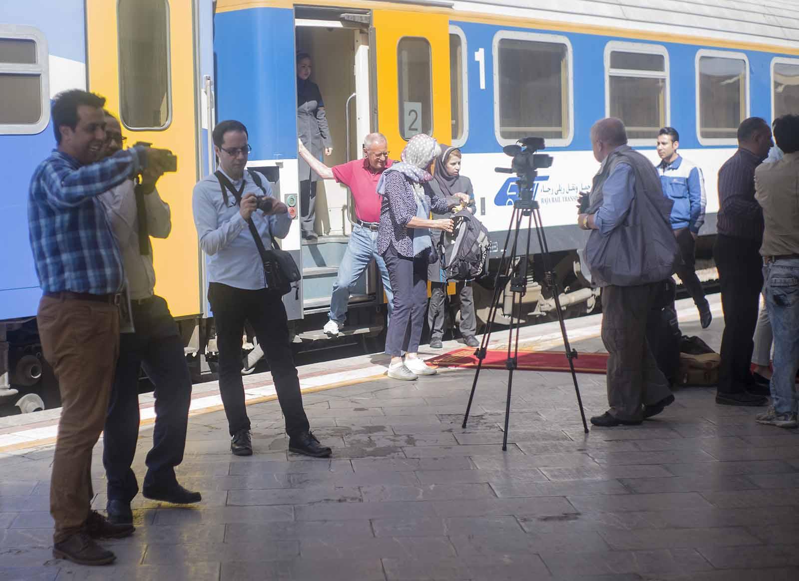 Empfang am Bahnhof