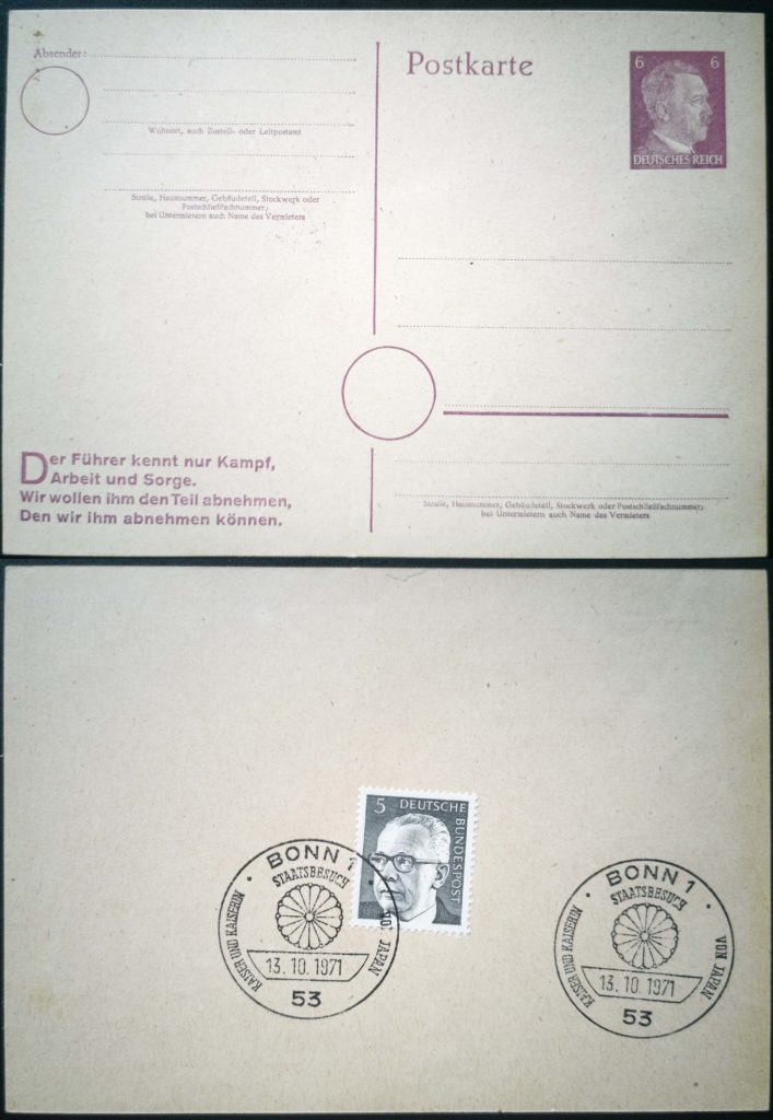 Hiroito Hitler Heinemann Briefmarke